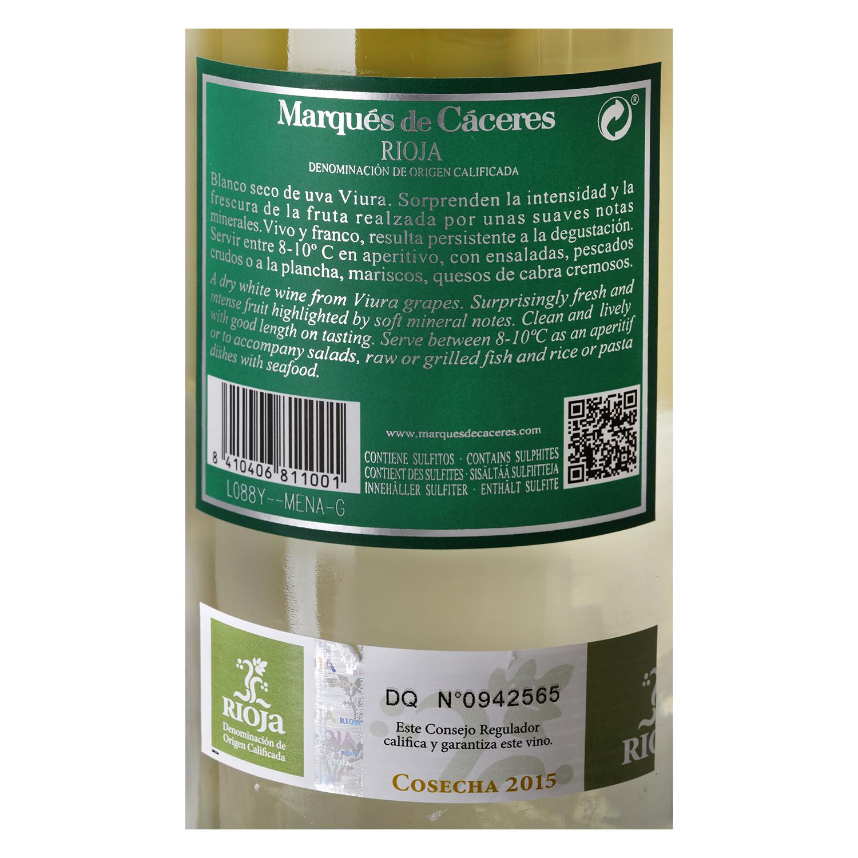 Vino D.O. Rioja blanco Marqués de Cáceres 75 cl. -
