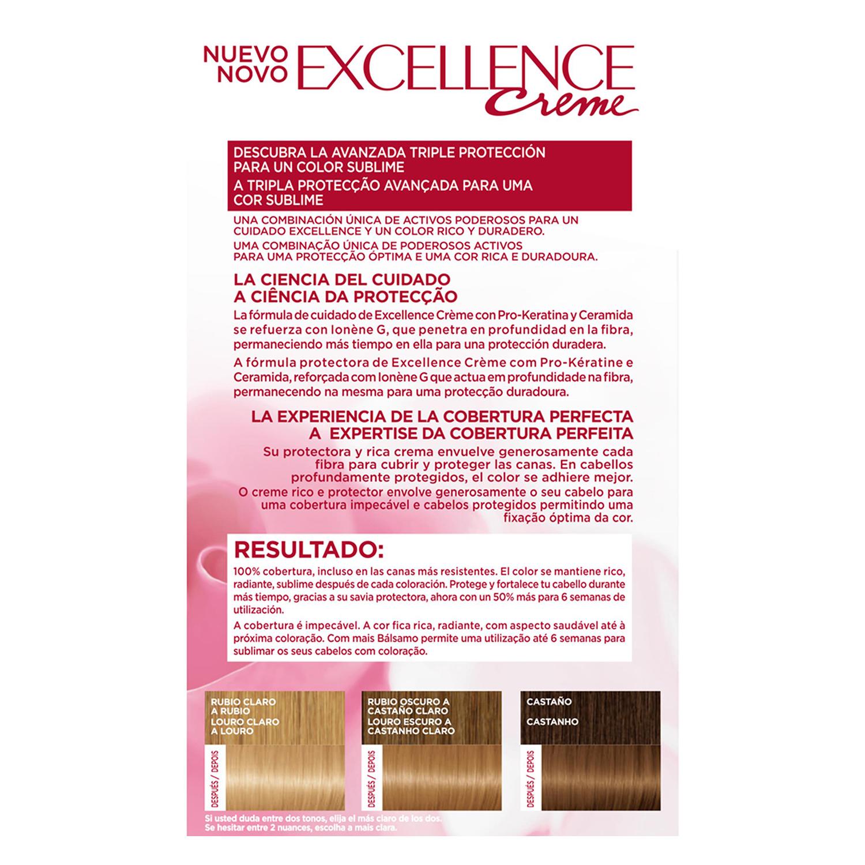 Tinte creme nº 8 Rubio Claro L'Oréal Excellence 1 ud. - 2