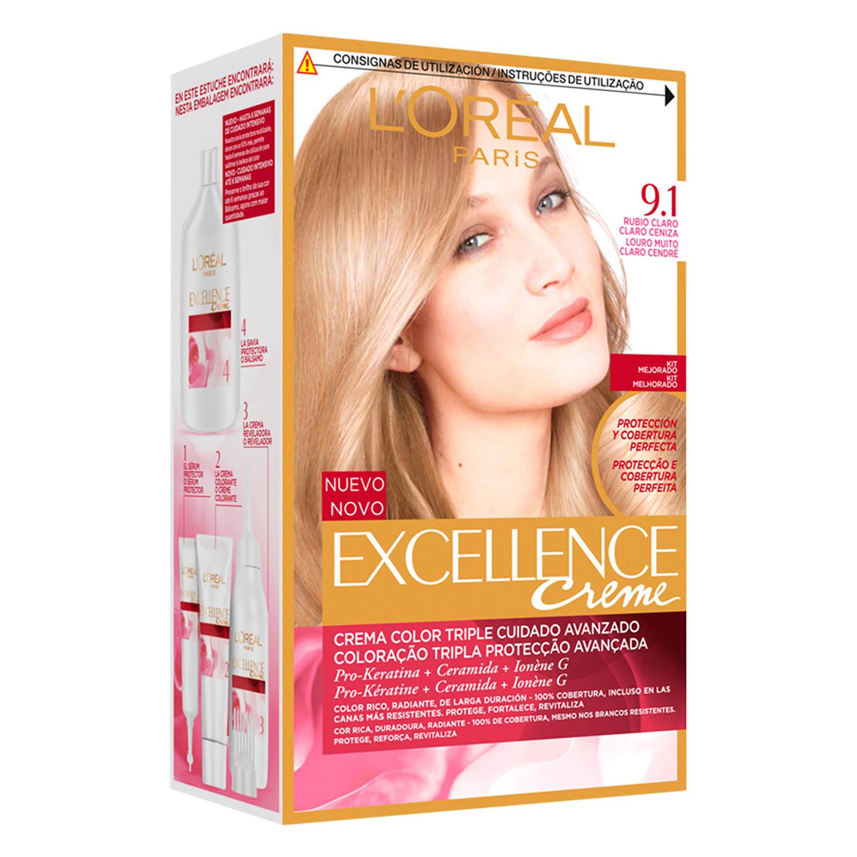 Tinte creme nº 9.1 Rubio Claro Claro Ceniza L'Oréal Excellence 1 ud.