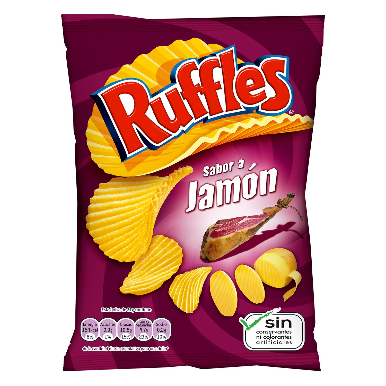 Patatas fritas sabor jamón Ruffles 170 g.
