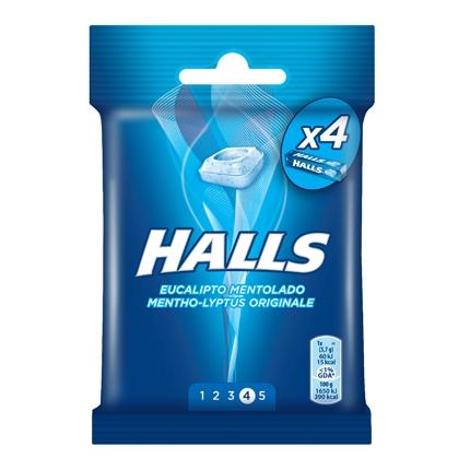 Caramelos sabor eucalipto mentolado Halls 4 paquetes de 32 g.