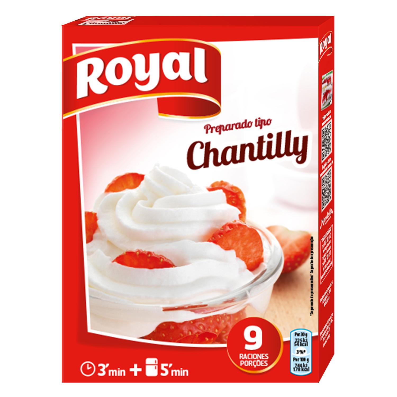 Preparado en polvo para rellenos y coberturas montadas con aroma de nata Royal 72 g.