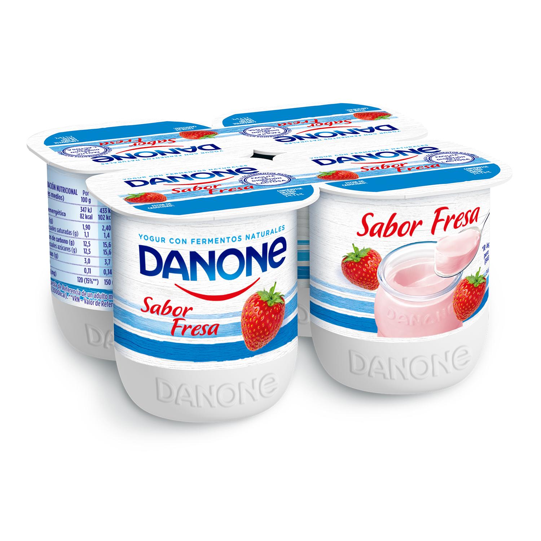 Yogur de fresa Danone pack de 4 unidades de 125 g.