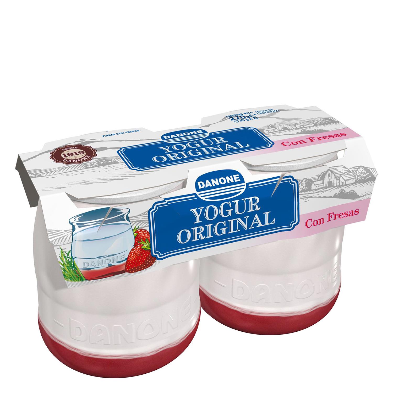 Yogur con fresas Danone Original pack de 2 unidades de 135 g.