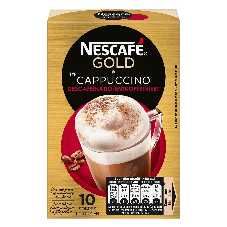 Café soluble cappuccino descafeinado en sobres Nescafé 10 unidades de 12,5 g.