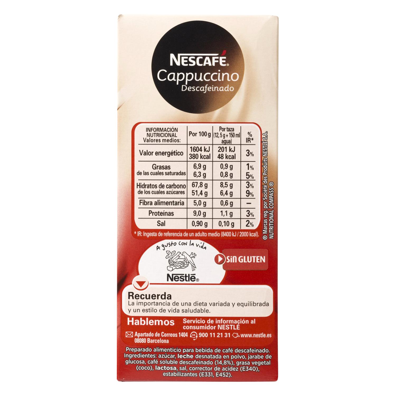 Café soluble cappuccino descafeinado en sobres Nescafé 10 unidades de 12,5 g. - 2