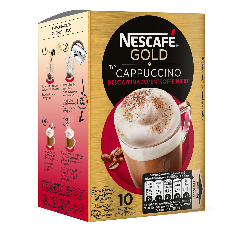 Café soluble cappuccino descafeinado en sobres Nescafé 10 unidades de 12,5 g. - 4