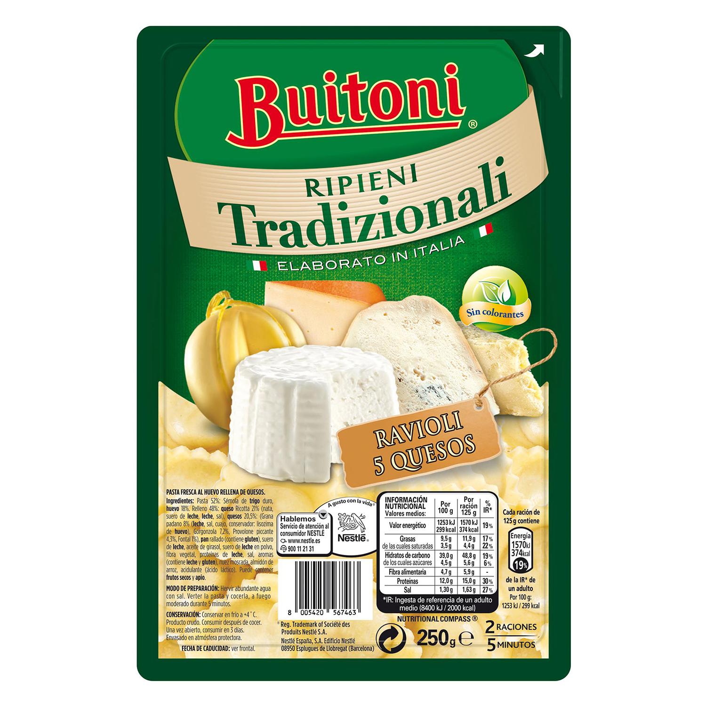 Ravioli de 5 quesos Buitoni al huevo 250 g.