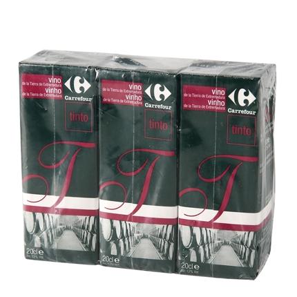 Vino tinto Carrefour pack de 3 briks de 20 cl.