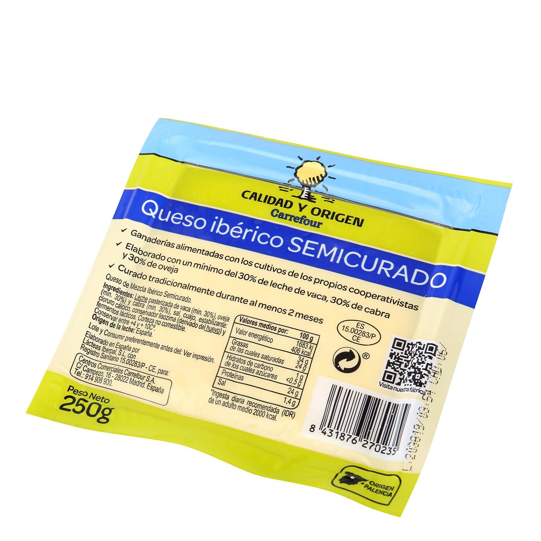 Queso semicurado ibérico Calidad y Origen Carrefour cuña 250 g