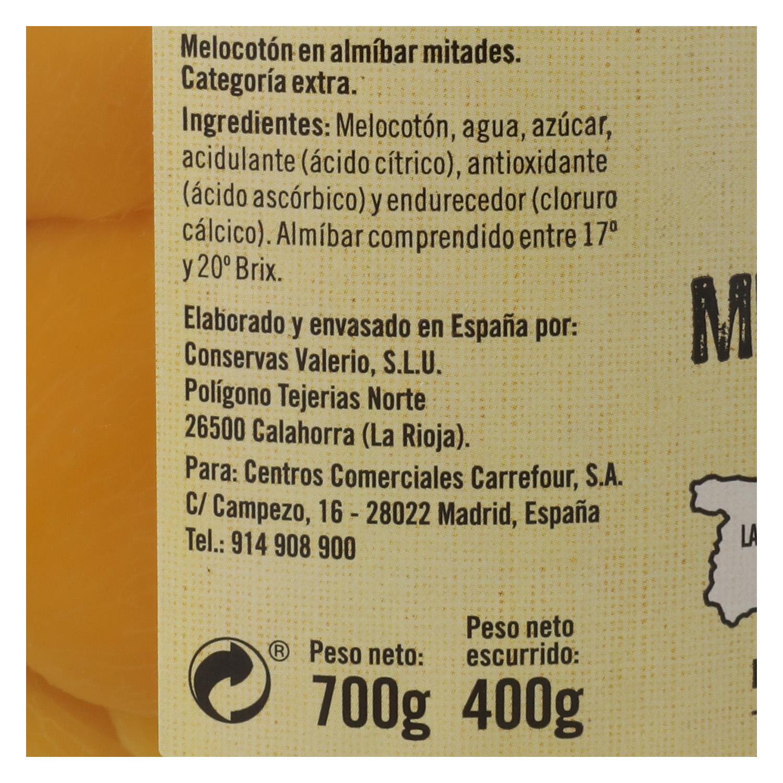 Melocotón en almíbar calidad extra en mitades De Nuestra Tierra 400 g. -
