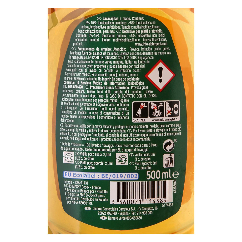 Lavavajillas a mano aroma té verde bergamota líquido ecológico Carrefour Eco Planet 500 ml. - 2