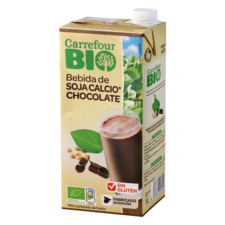 Bebida de soja sabor chocolate con calcio ecológica Carrefour Bio brik 1 l.