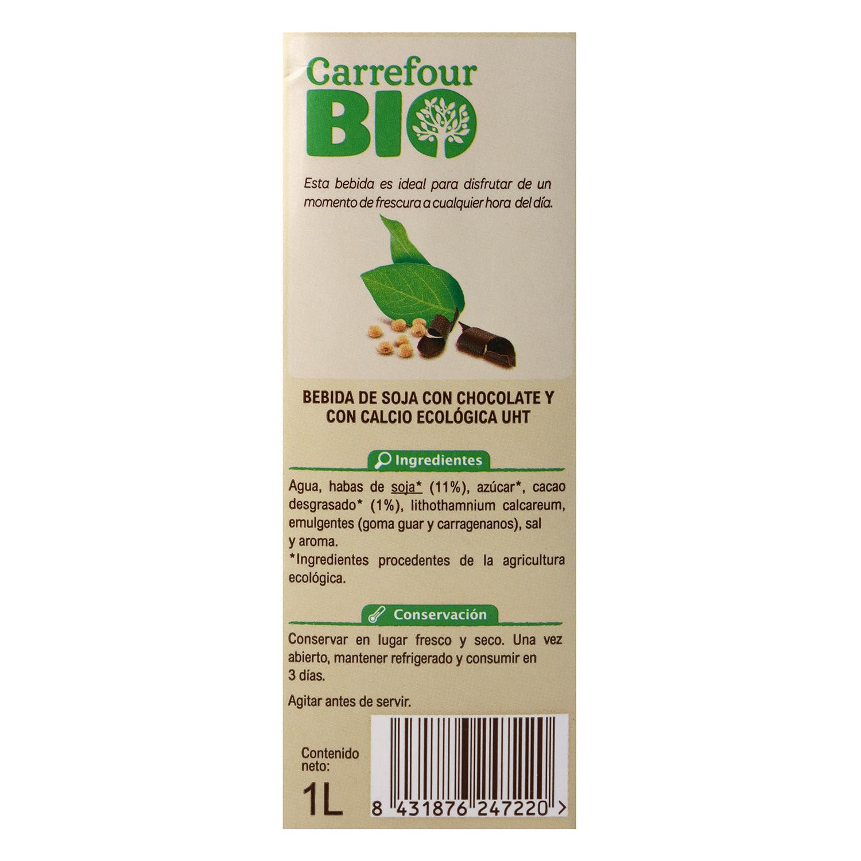 Bebida de soja sabor chocolate con calcio ecológica Carrefour Bio brik 1 l. - 2