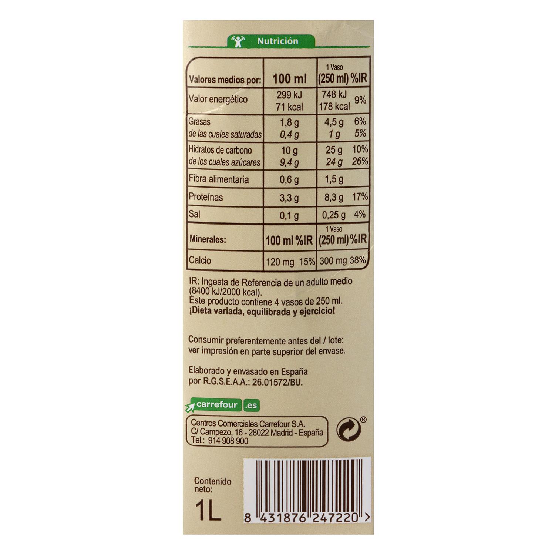 Bebida de soja sabor chocolate con calcio ecológica Carrefour Bio brik 1 l. -