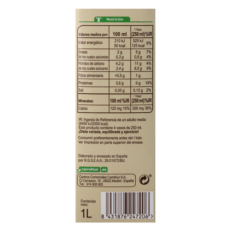 Bebida de soja con calcio ecológica Carrefour Bio brik 1 l. -