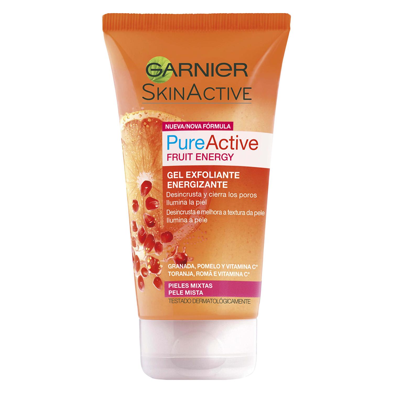 Gel exfoliante Pure Active Fruit Energy Garnier-Skin Naturals 150 ml.