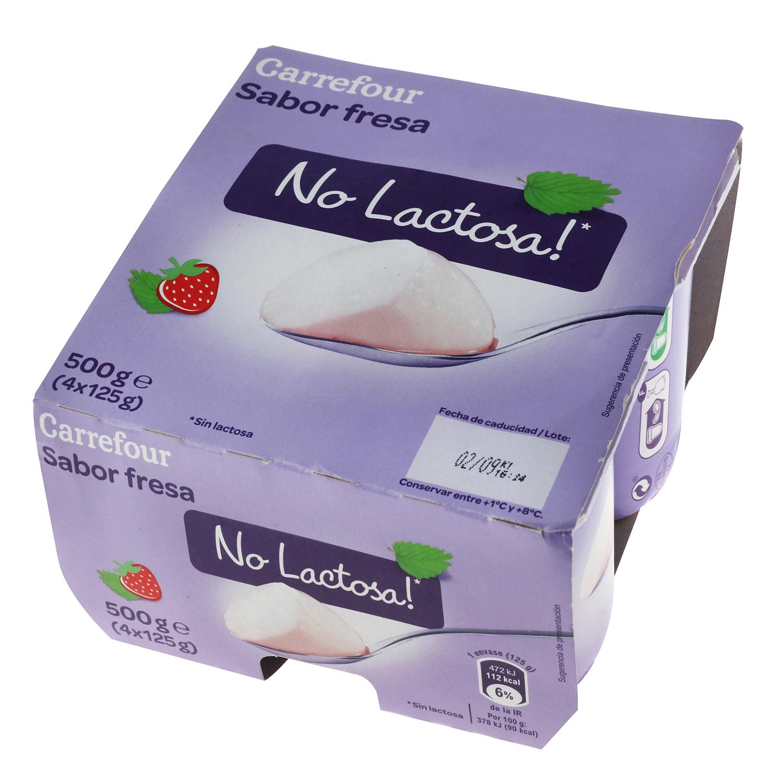 Preparado lácteo fermentado de fresa sin lactosa