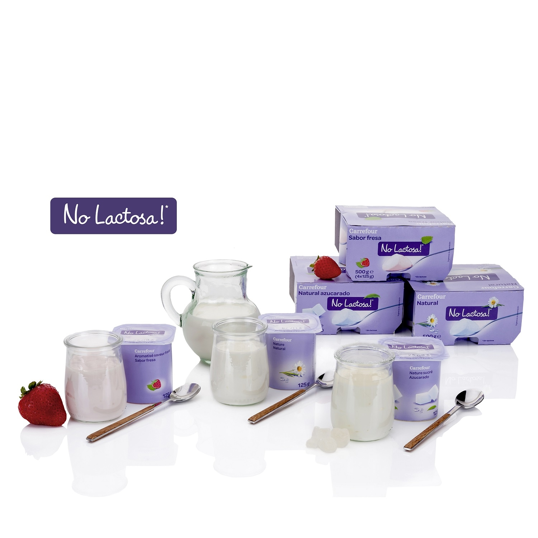 Yogur azucarado natural Carrefour No Lactosa pack de 4 unidades de 125 g. - 2