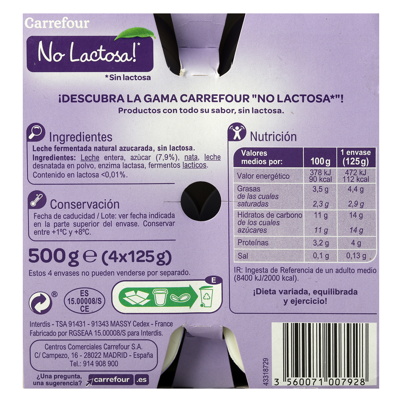 Yogur azucarado natural Carrefour No Lactosa pack de 4 unidades de 125 g. -