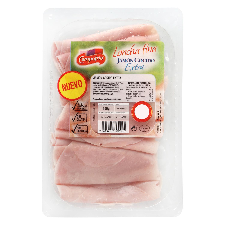 Jamón cocido extra loncha fina Campofrío 150 g -
