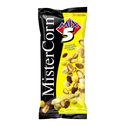 Cocktail de frutos secos y snacks sabor barbacoa Grefusa-Mister Corn 120 g.