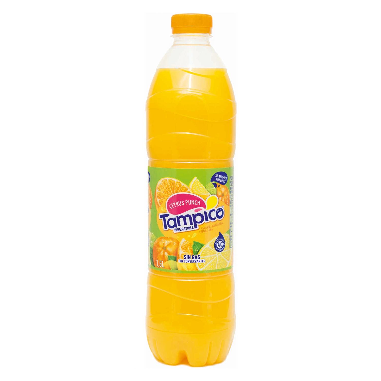 Refresco de naranja,mandarina y limónTampico sin gas botella 1,5 l.