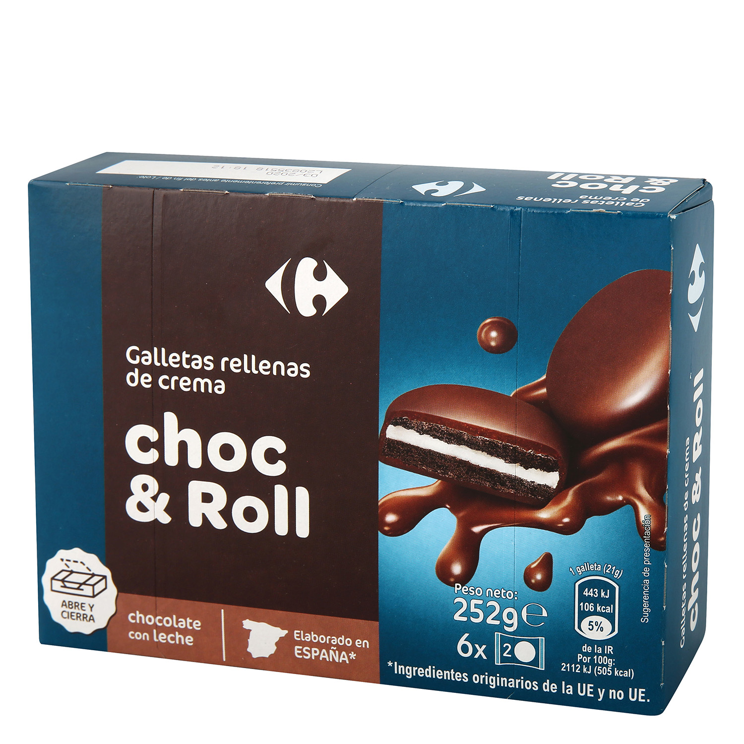 Galletas con chocolate y leche Carrefour 252 g.