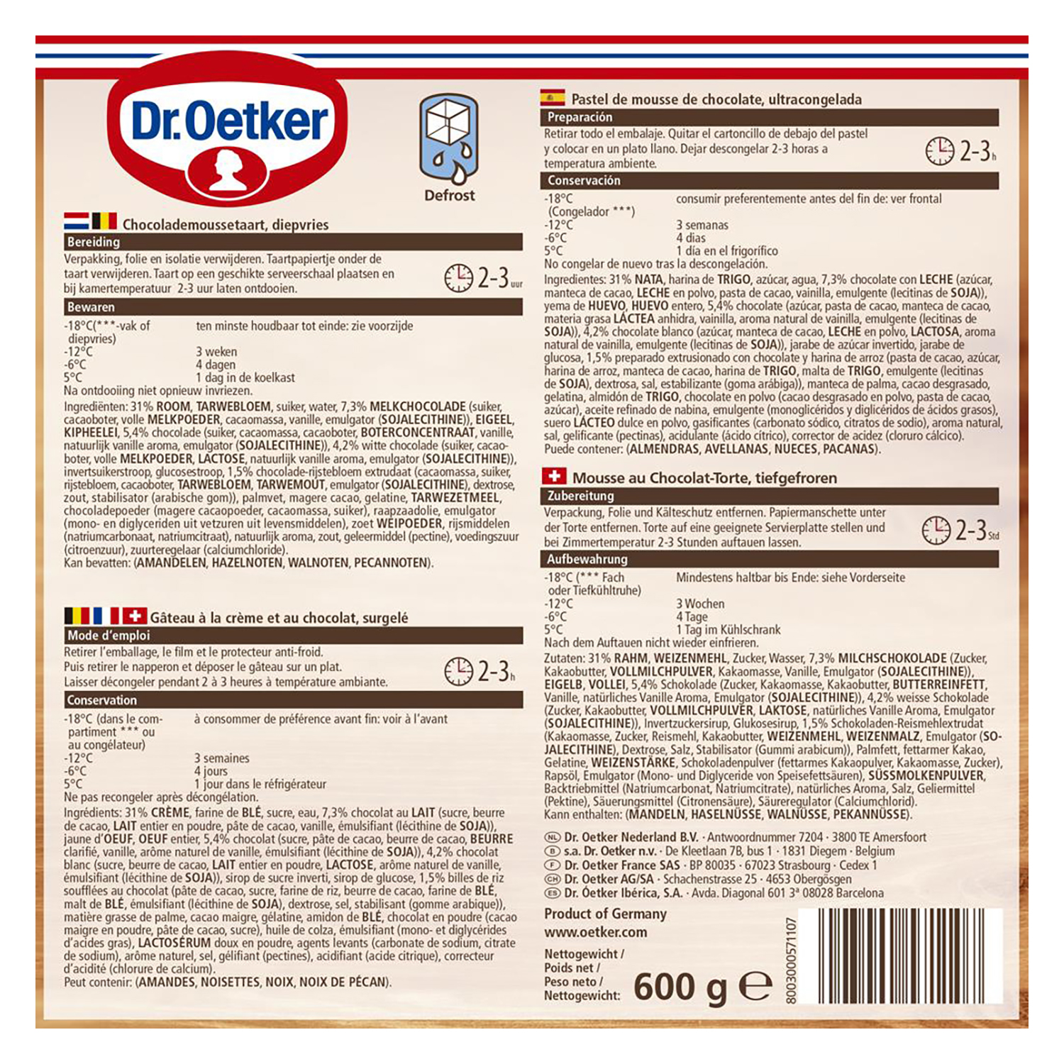 Mousse de chocolate Dr. Oetker 600 g. -