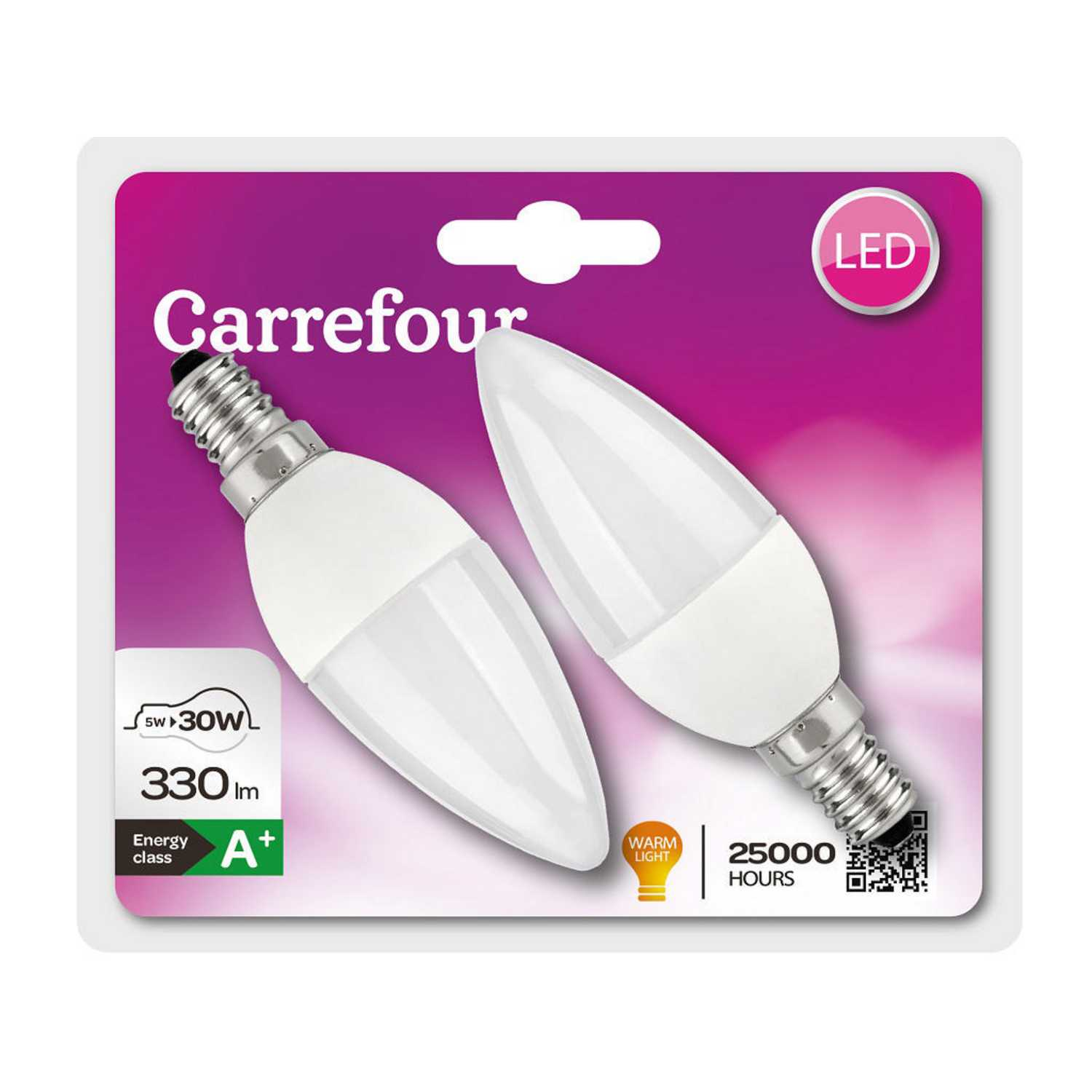 Pack de 2 Bombillas LED Candle 5W E14 Coated 330Lm 3000K 2Bl 30Watts Equivalent 25000H