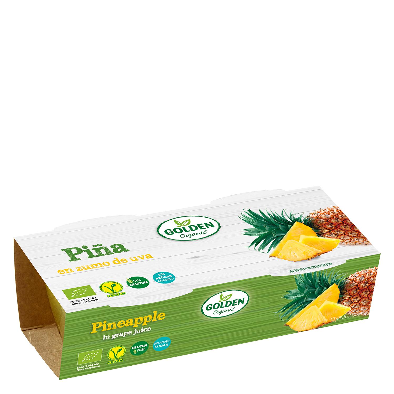 Piña en zumo de uva ecológica Golden Organis sin gluten pack de 2 unidades de 65 g.