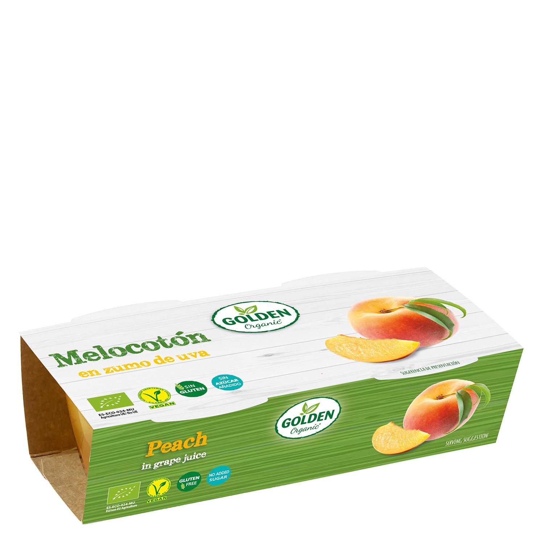 Melocotón en zumo de uva ecológico Golden Organis sin gluten pack de 2 unidades de 65 g.