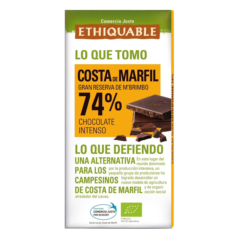 Chocolate negro intenso 74% ecológico Ethiquable 100 g.