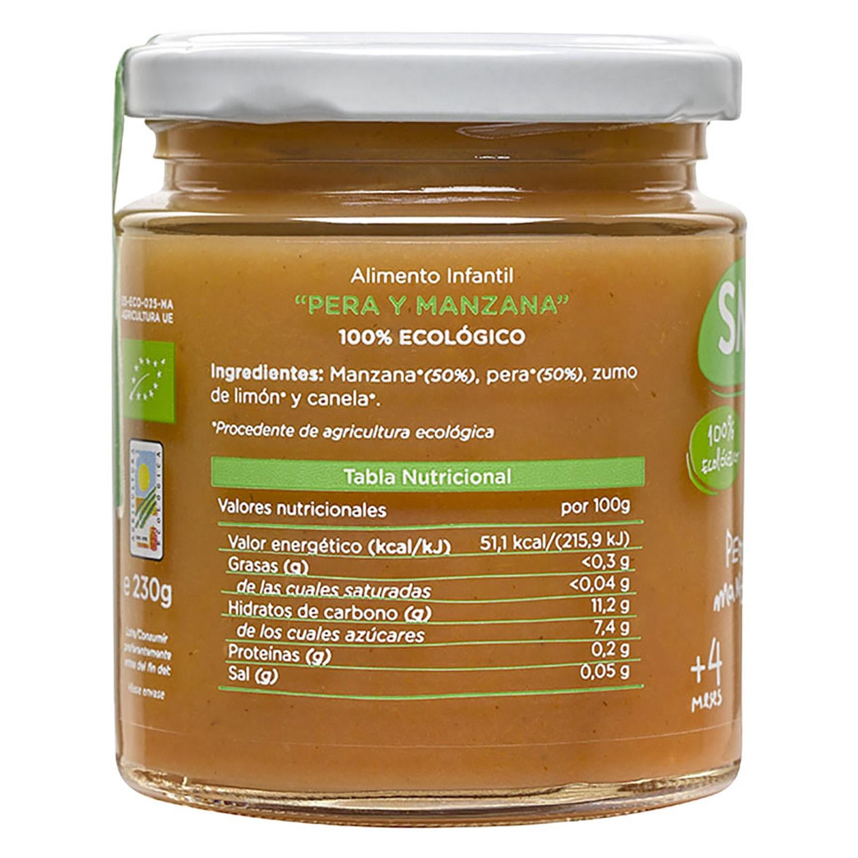 Tarrito de pera y manzana desde 4 meses ecológico Smileat sin gluten 230 g. -