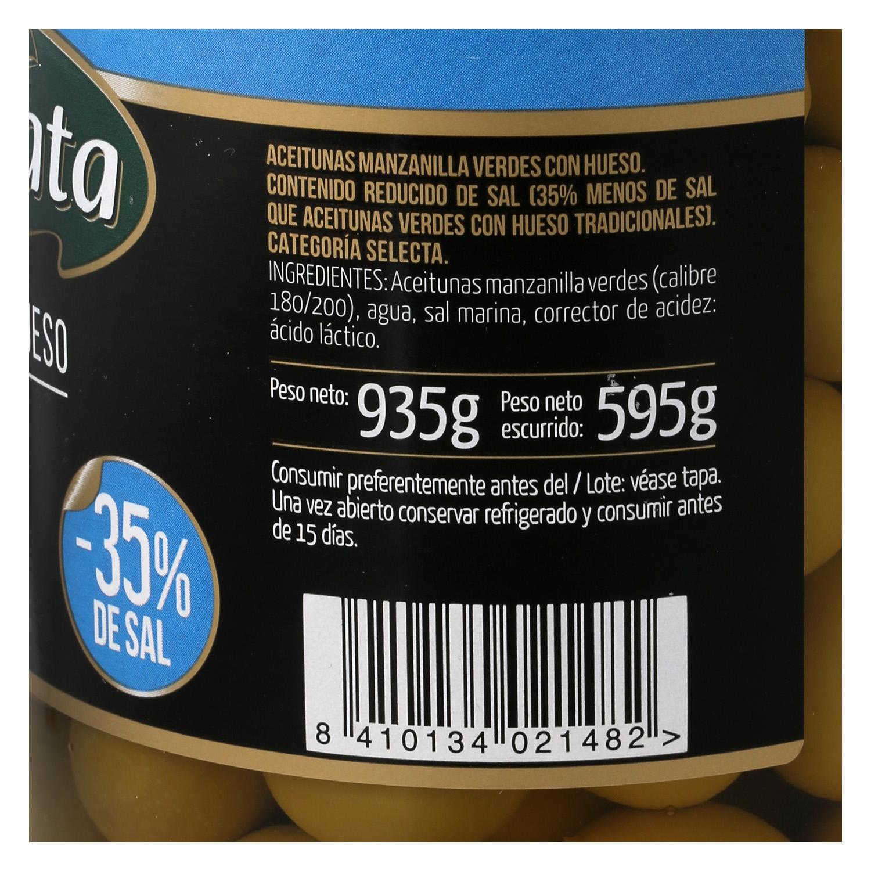 Aceitunas verdes manzanilla con hueso sabor suave Fragata 595 g. - 2