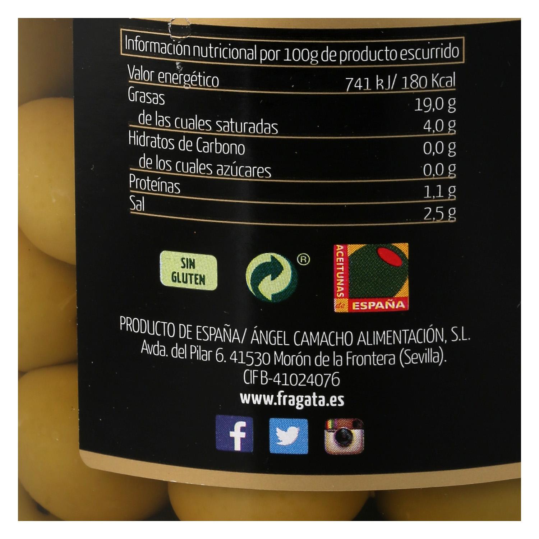 Aceitunas verdes manzanilla con hueso sabor suave Fragata 595 g. -