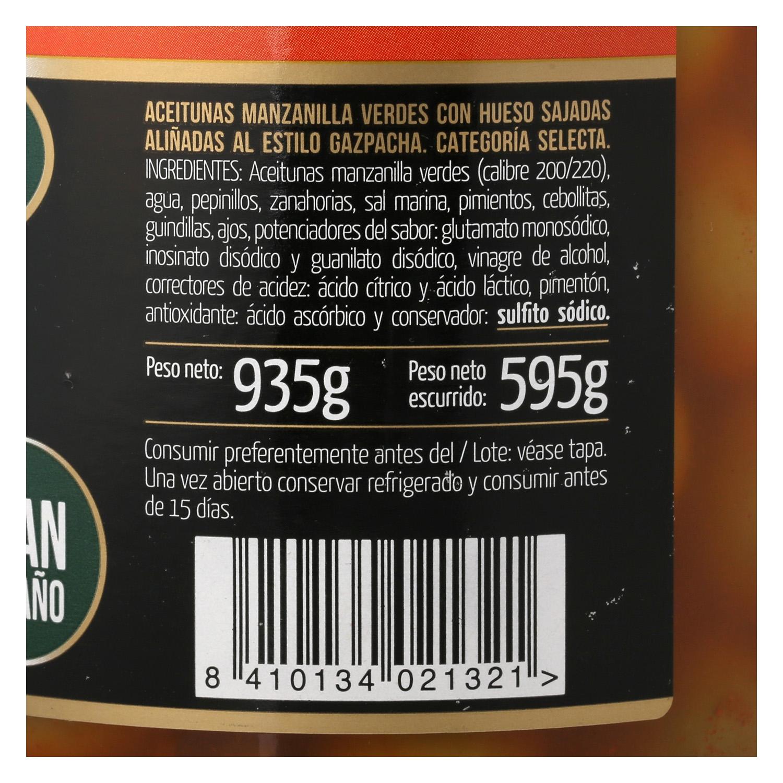 Aceitunas manzanilla aliñadas estilo gazpacha Fragata 595 g. - 2