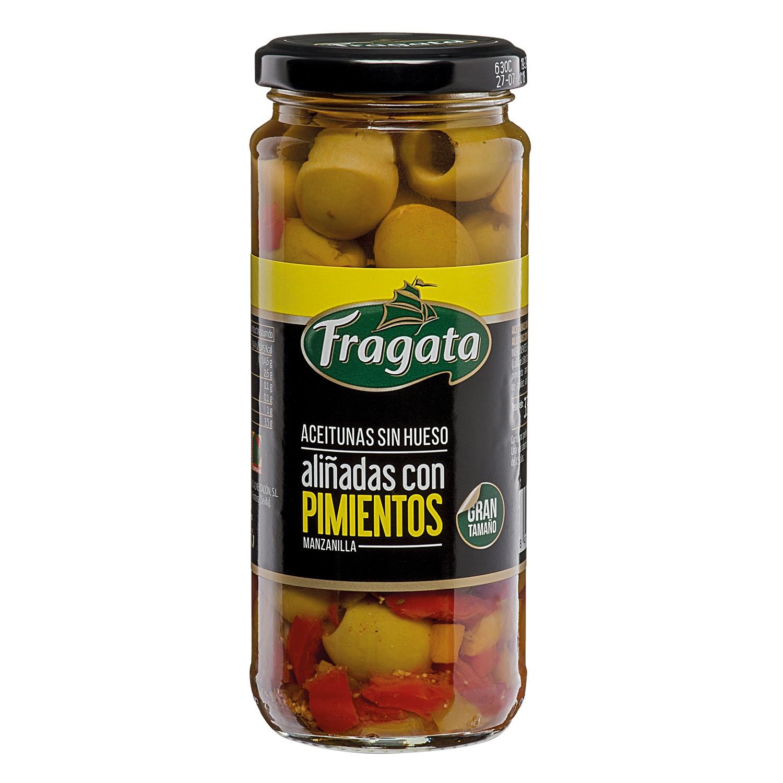 Aceitunas sin hueso aliñadas con pimientos