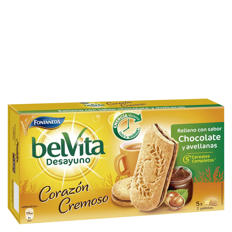 Galleta con relleno de chocolate y avellanas Belvita