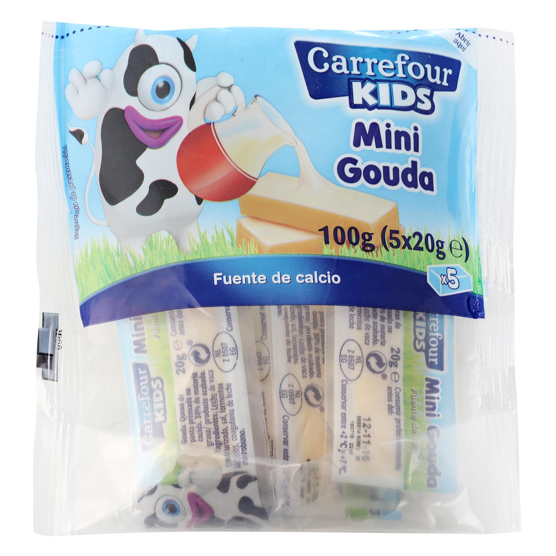 Queso mini Gouda Carrefour Kids pack de 5 unidades de 20 g.