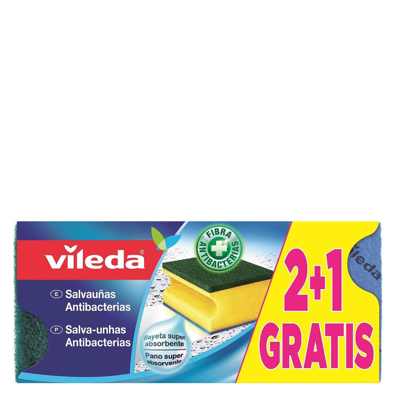 3 Estropajos salvauñas antibacterias VILEDA  - Verde