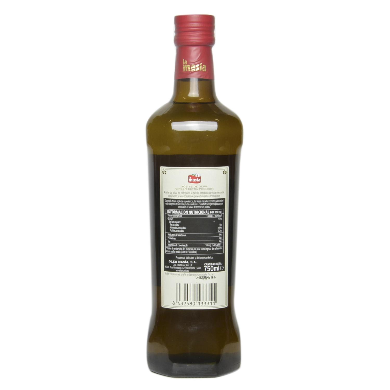 Aceite de oliva virgen extra premium La Masía 750 ml. -