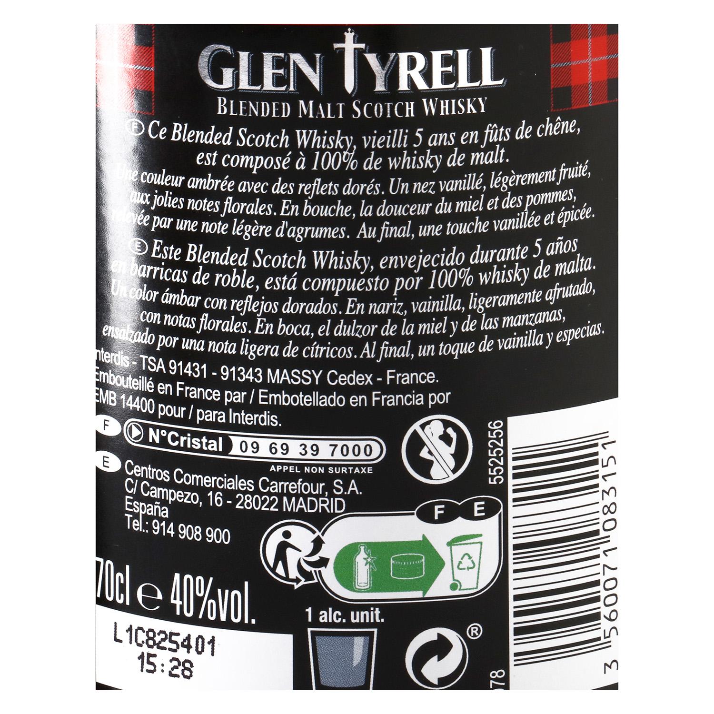 Whisky Glen Tyrell escocés 5 años 70 cl. -