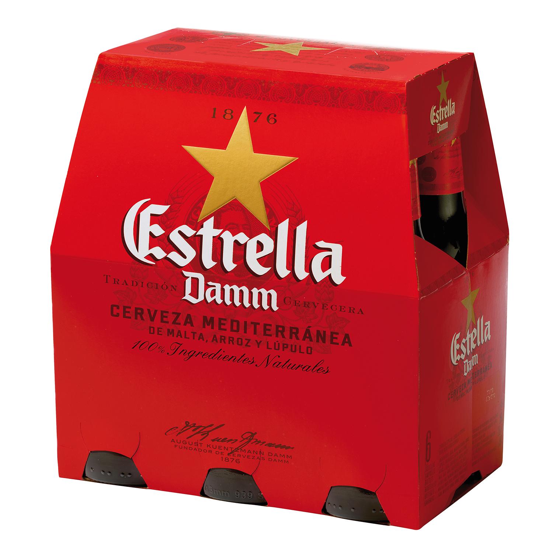 Cerveza Estrella Damm mediterránea pack de 6 botellas de 25 cl.
