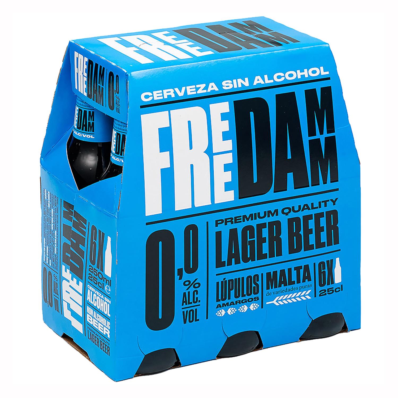 Cerveza Free Damm Lager 0,0 sin alcohol pack de 6 botellas de 25 cl.