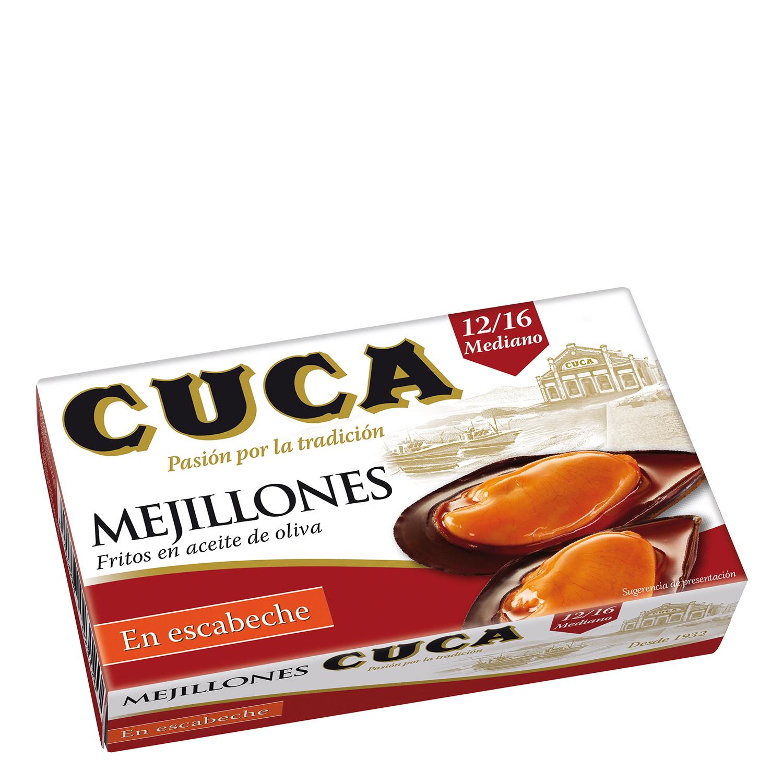 Mejillones en escabeche con aceite de oliva 12/16 Cuca 115 g.