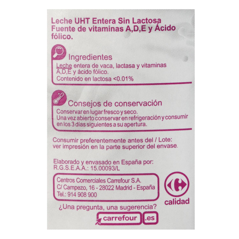 Leche entera Carrefour sin lactosa brik 1 l. - 2