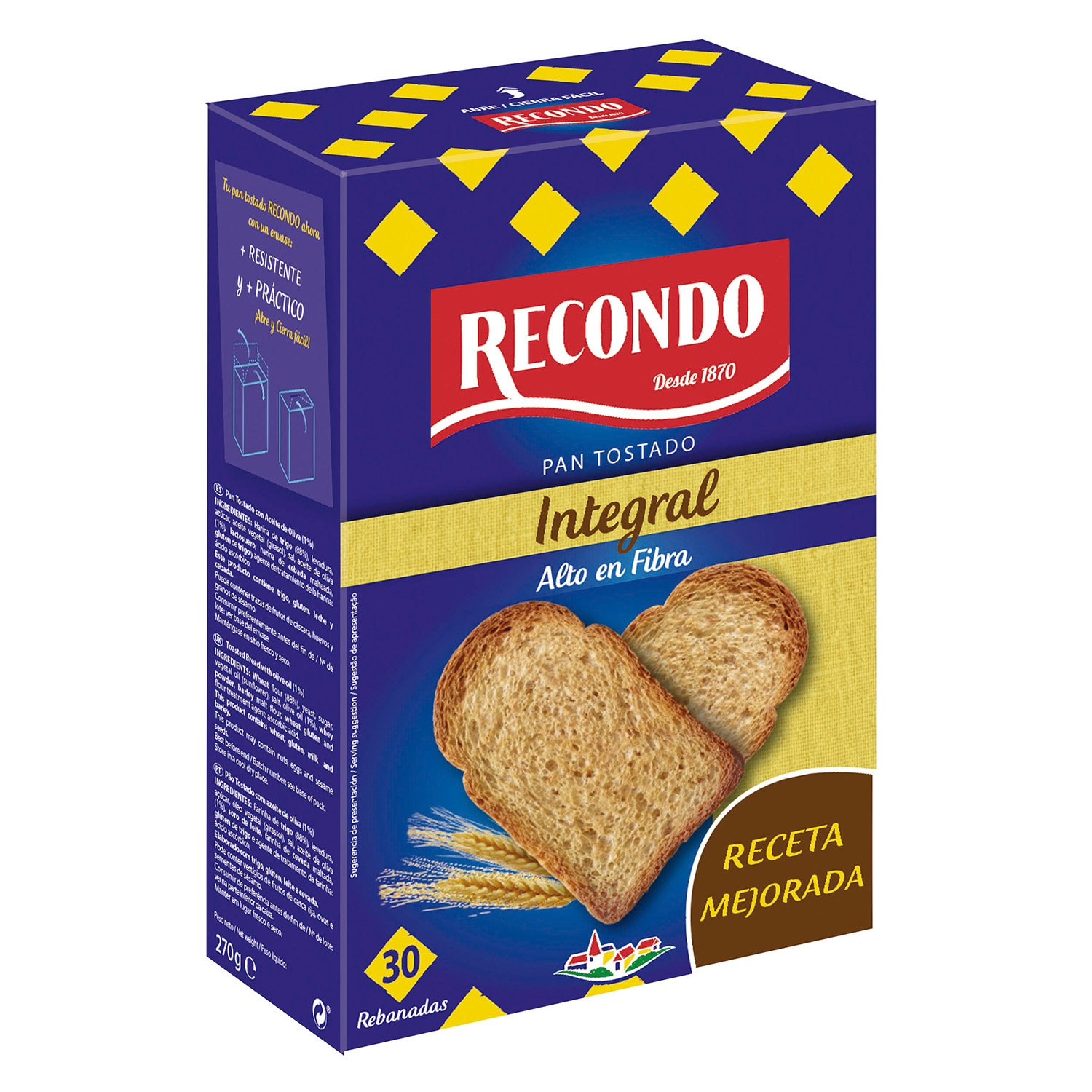 Pan tostado integral Recondo 270 g.
