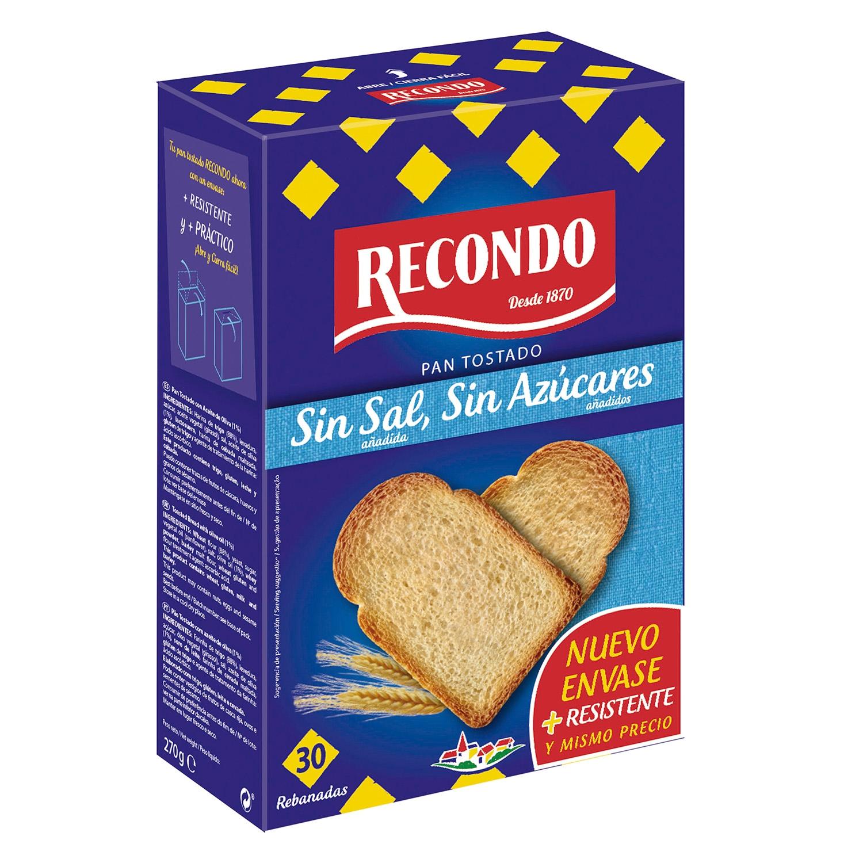 Pan tostado sin sal y sin azúcar
