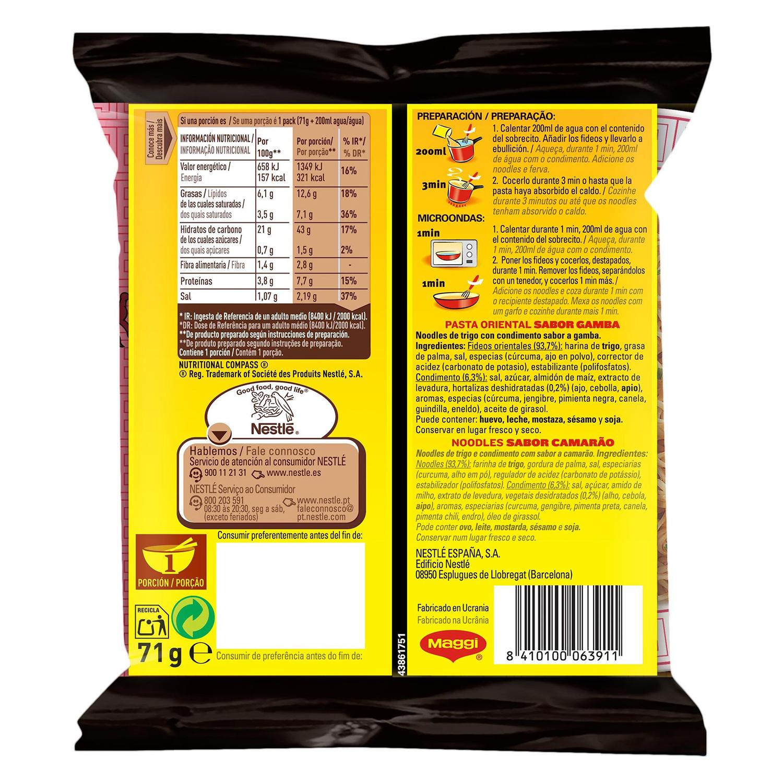 Pasta oriental Fusian sabor gamba Maggi 69 g. -